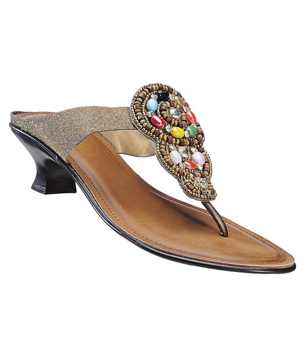 Catwalk Sparkly Bronze Slip-on Heels