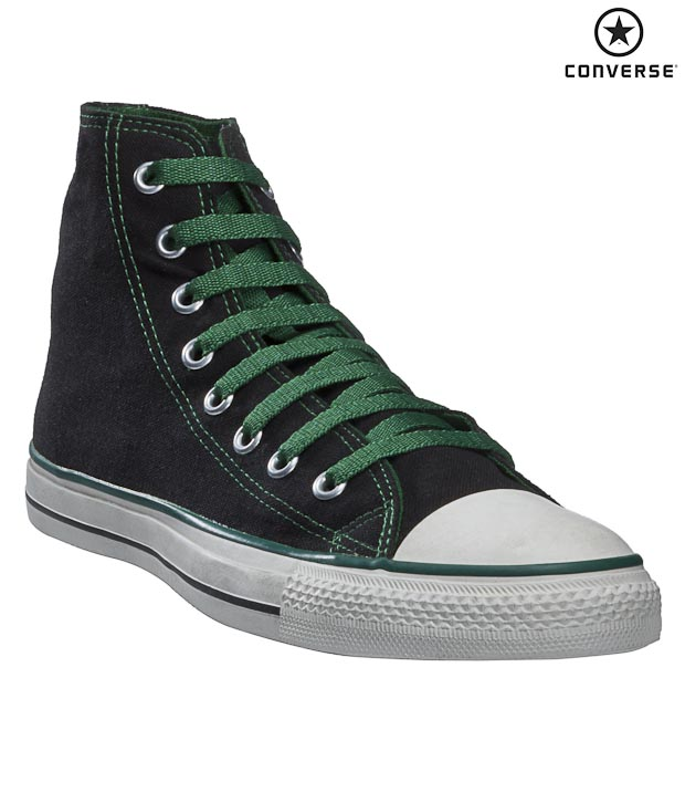 Converse Black & Green Unisex High Ankle Sneakers