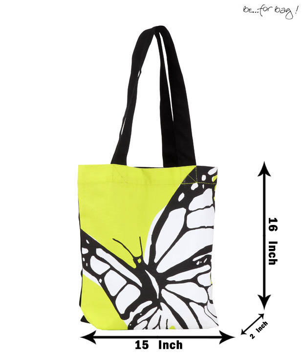 Be For Bag! Naive Green Butterfly Print Bag