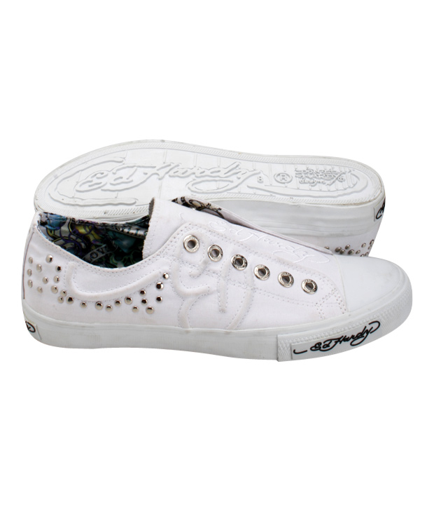 Ed Hardy White Studded Canvas Shoes