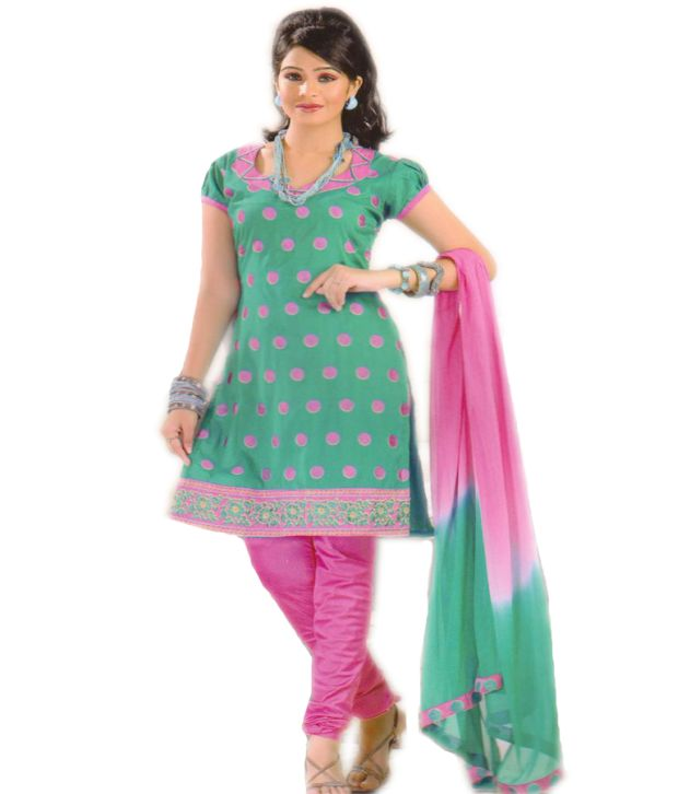 Salwar Studio Sea Green & Pink Cotton Unstitched Suit With Dupatta