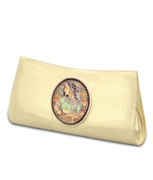 Favola Attractive Clutch And Wooden Bangle Combo