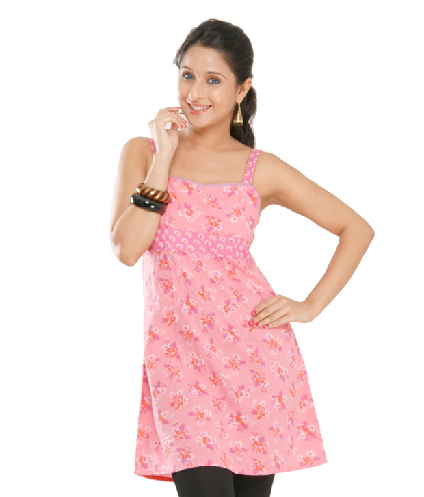 G Smart Pink Floral Print Kurti