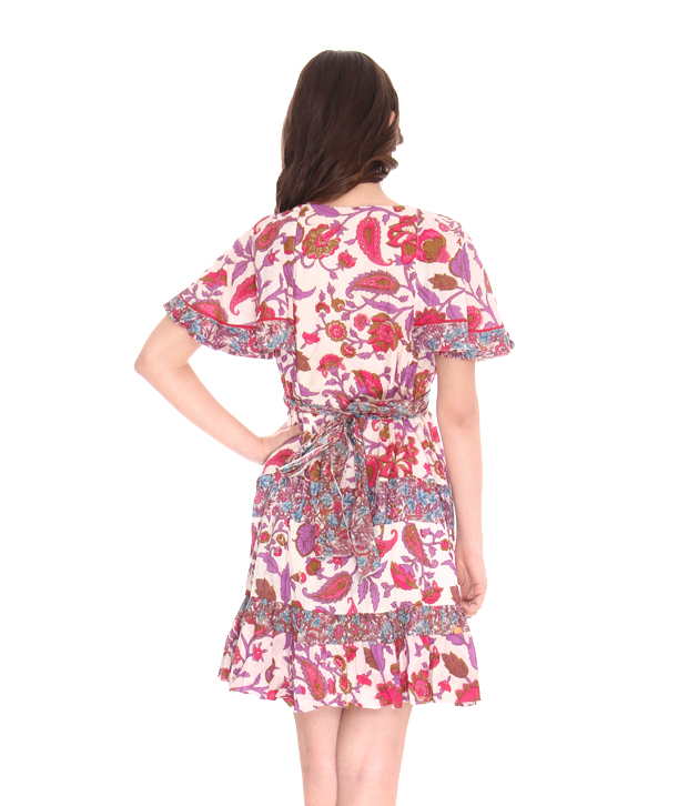 Ilina Batwing Floral Pink-Purple Short Dress