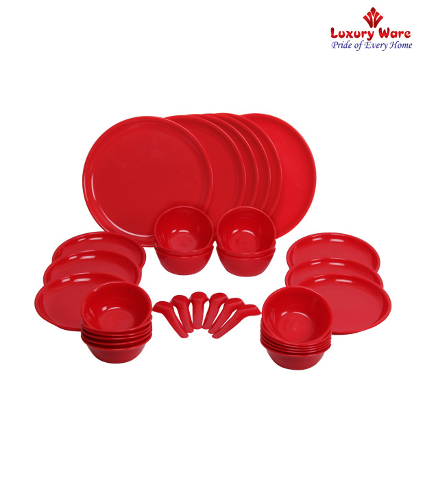 Luxuryware Red Polypropylene Dinner Set