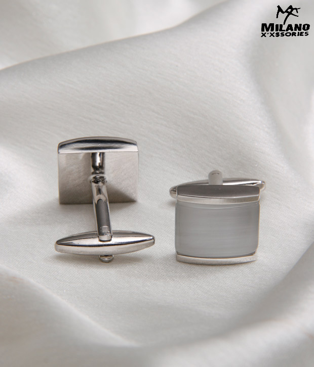 Milano X'xssories Pearl Finish Stone Cufflinks