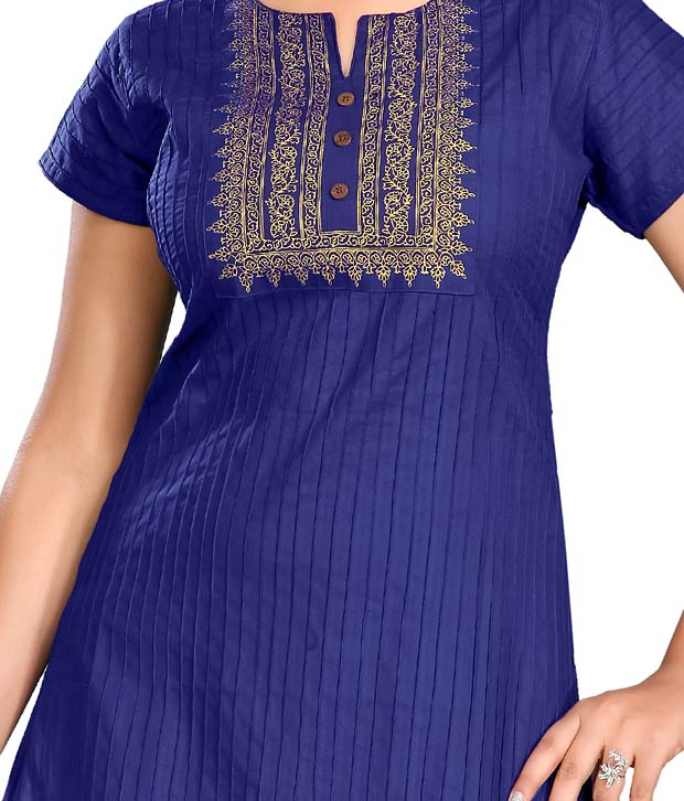 Style by Prafful Attractive Royal Blue Cotton Kurti