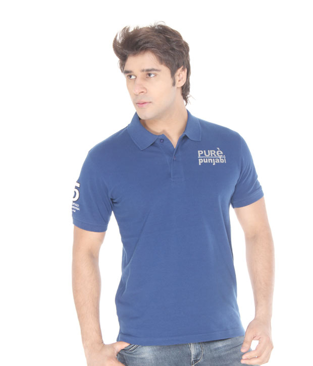 Punjabi Heritage Vibrant Royal Blue Cotton T-Shirt