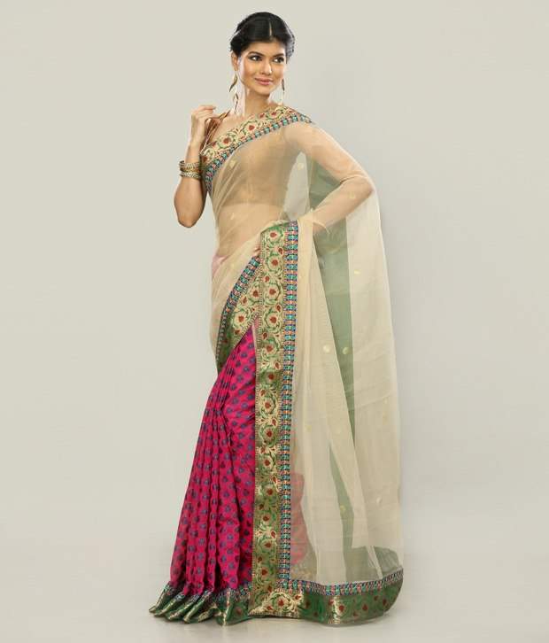 Arnab Sengupta Cream Embroidered Designer Saree