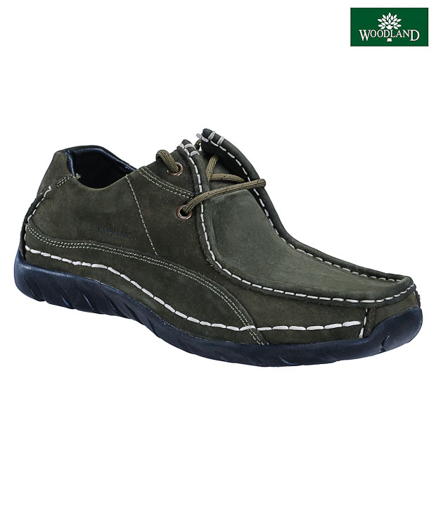Woodland Vibrant Olive Green Casual Shoes