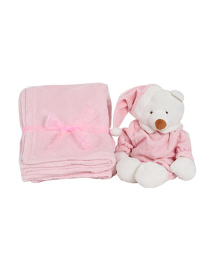 Keona Kidz Pink Baby Blanket & Soft Toy Set