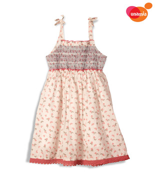 Unamia Cute Cream & Peach Dress For Kids