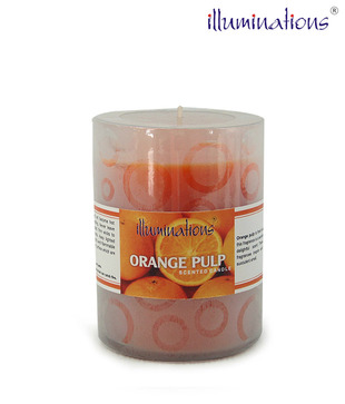 Illuminations Orange Glass Candle