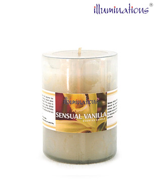 Illuminations White Glass Candle