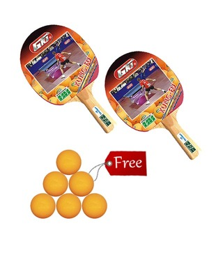 2 GKI Kung Fu Table Tennis Racket +  6 Table Tennis Ball Shield 40mm  Seamless FREE