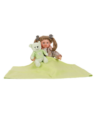 Keona Kidz Cute Green Baby Blanket & Teddy Set