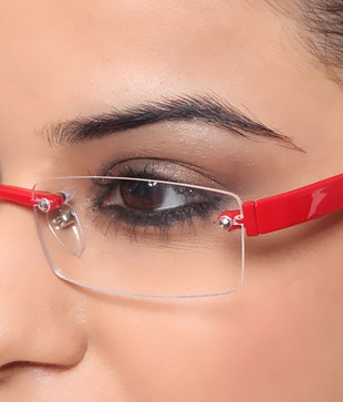 Zion Funky Red Rimless Eyewear